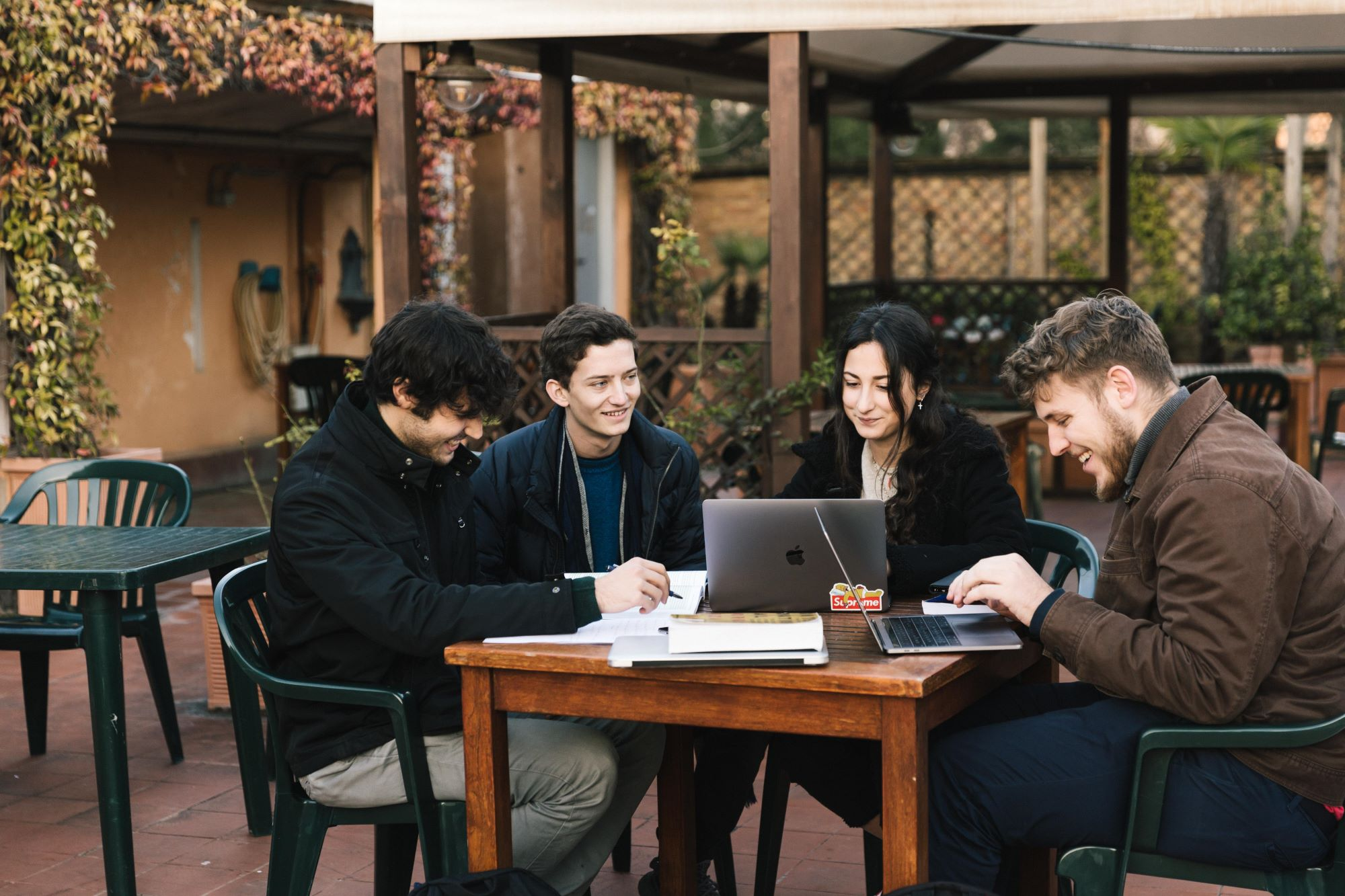 Four students studying on Secchia Terrace