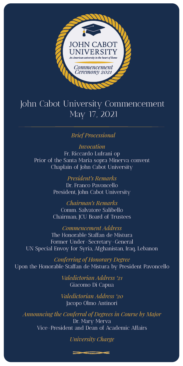 Commencement 2021 program